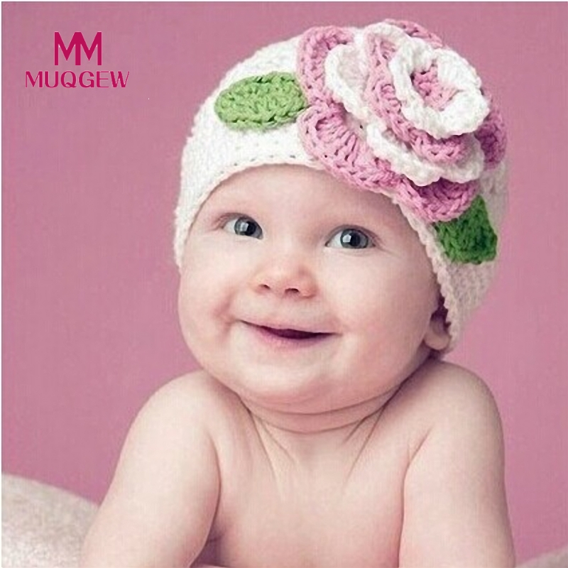 2017 Hot Knit Cap for Newborns Cute Big Flower Baby Kids Infant Toddler Girls Warm Knitted Hat Cap Woolen Caps for Kids Beanies