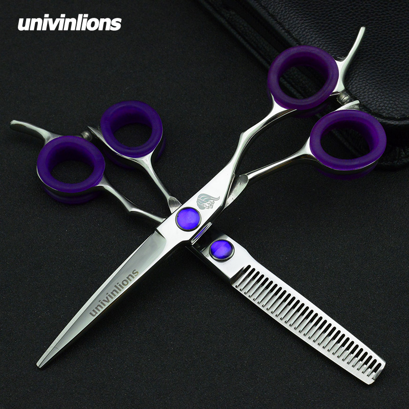 univinlions 6 quot hair scissors black barber clippers barber thinning scissors hairdressing professional barber kit for hairdresser in Hair Scissors from Beauty amp Health