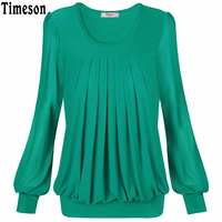 Timeson Women S Long Sleeve Pleated Front Fitted Blouse Ladies Casual Office Shirt Tops Plus Size