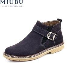 купить MIUBU 2019 Men Ankle Boots High Quality Genuine Leather Men Boots Warm Outdoor Men Chelsea Boots Fashion Men Winter Shoes 38-46 дешево