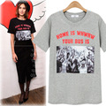 Europa New Fashion 2017 Verão Mulheres T-shirt Feminina de Manga Curta T-shirts de impressão Senhoras Meninas Tops T Plus Size 5XL JA2335