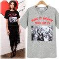 Europa Nueva Moda 2017 Mujeres Del Verano Hembra de La Camiseta de Manga Corta Camisetas de la impresión Señoras de Las Tapas de la Camiseta Más El Tamaño 5XL JA2335