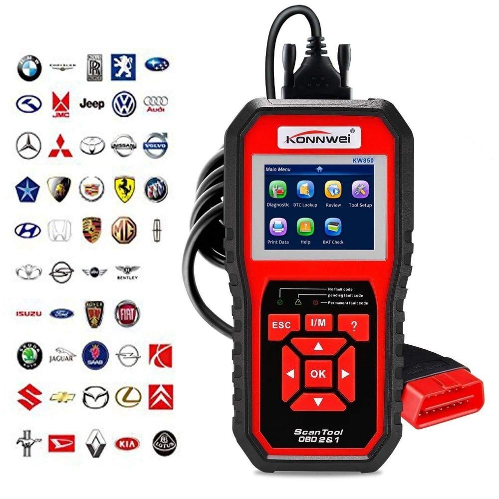 Escáner profesional OBD2 KW850 lector de código Motor de vehículo diagnóstico EOBD herramienta de escaneo para todos los coches de protocolo OBDII y CAN desde 1996