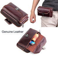 Genuine Cow Leather Belt Clip Phone Case Dual Pouch For Nokia 9 Doogee Dagger DG550 Shoot