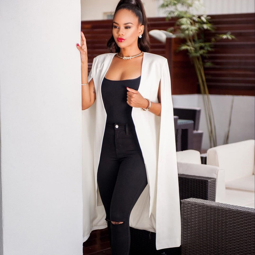 New Women's Sexy Cloak Poncho Cape   Trench   Duster Coat Casual Open Front Solid Color Suit Style Split Slit Open   Trench   Coat Top