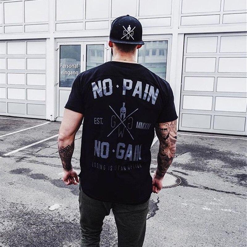 2018 Summer New Arrival Bodybuilding Fitness Mens Short Sleeve Letter   T  -  shirt   Gyms   Shirt   Men Muscle Tights Fitness   T     Shirt   Tops