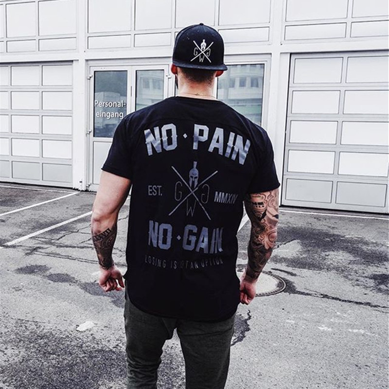 2019 Summer New Arrival Bodybuilding Fitness Mens Short Sleeve Letter T-shirt Gyms Shirt Men Muscle Tights Fitness T Shirt Tops