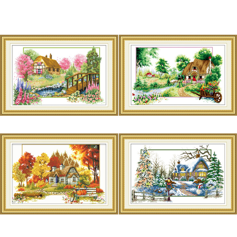 Joyautum Cactus Needlework,DIY Living Room Cross Stitch,Sets for Embroidery kit Embroidery Cross-Stitching Silk Thread 11ct Silk Threads