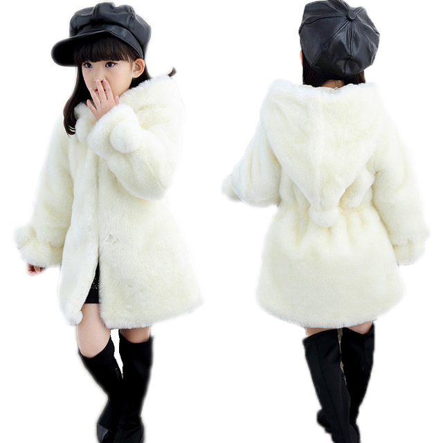 0ac0c9713 2018 Girls Winter Coat Girls Wool Jacket Girls Faux Fux lnng Coat ...