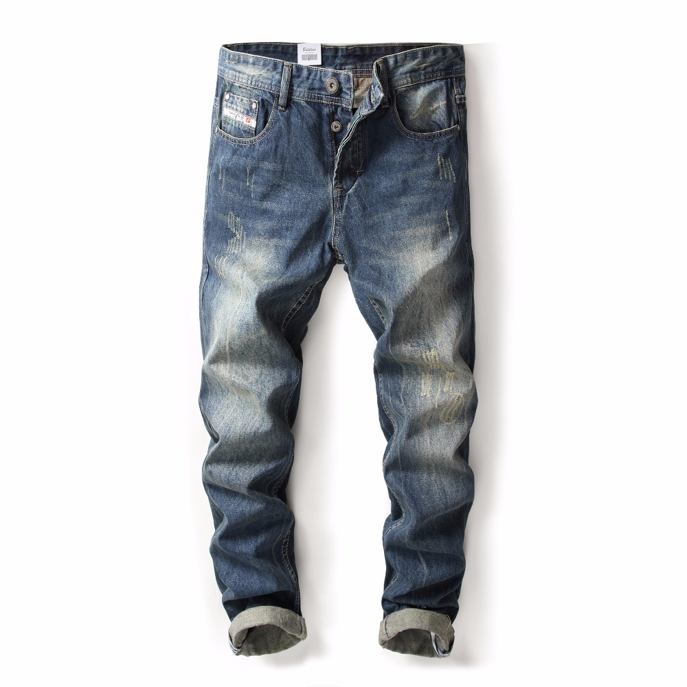 2019 New Original High Quality Brand Men Jeans Straight Fit Distressed Ripped Jeans For Men Brand Jeans Home,9003-2C