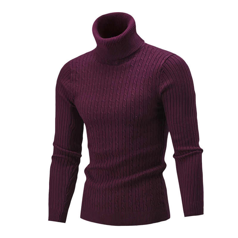 Men's Turtleneck Sweater New Autumn Winter Solid Color Sweater Casual Sweater Slim Fit Brand Simple Knitted Twist Pullovers