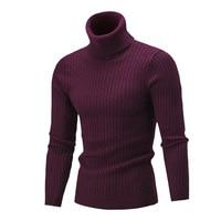 Для Мужчин's Свитер с воротником 2018 Новый осень-зима однотонные Цвет свитер Повседневное свитер Slim Fit бренд простой вязаный твист пуловеры