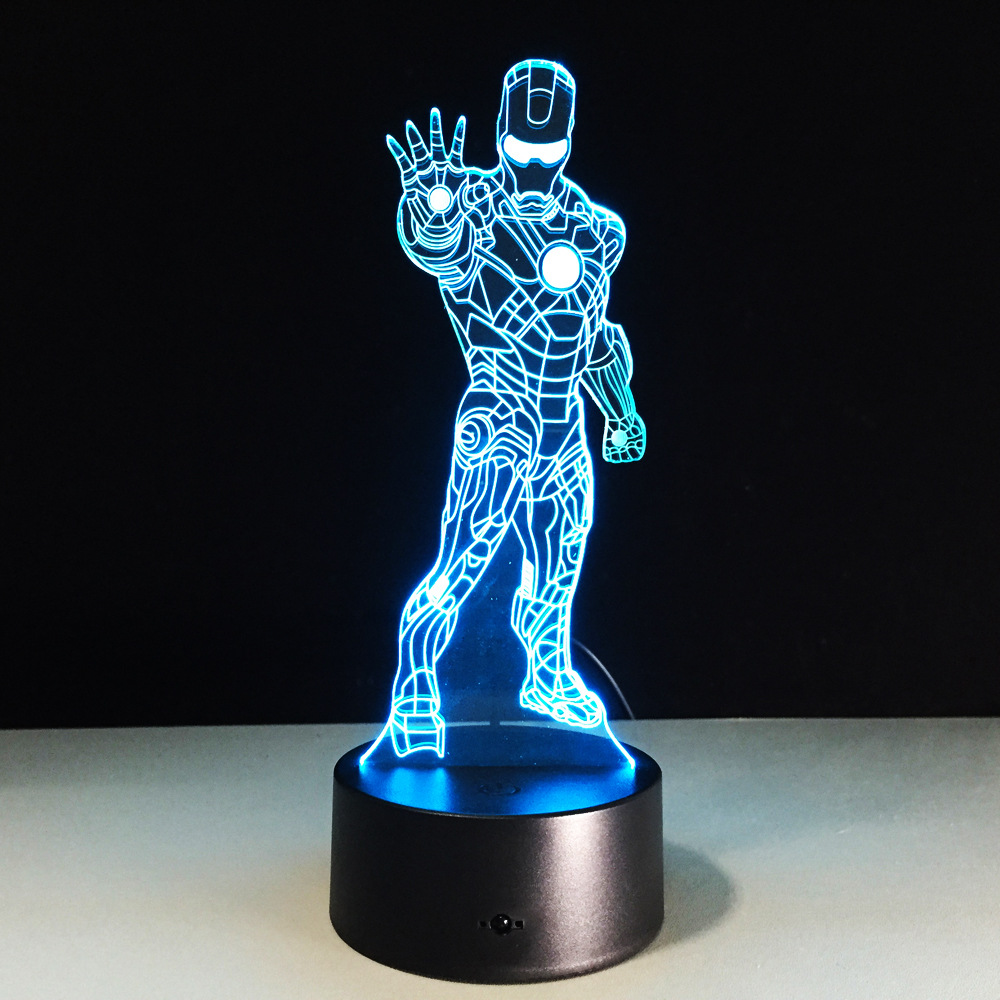 Ironman 3D USB LED Night Light 7colors Illusion Lamp Touch Button Remote Control Kid/children living/bedroom table/desk lighting creative tractor shaped 3d led desk light colorful car night light remote control indoor lighting acrylic table lamp wholesale