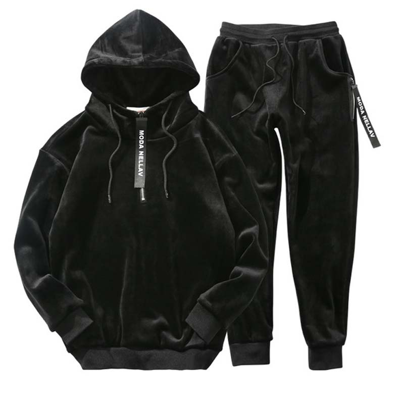 Winter Men Velour Tracksuit 2019 Fashion Korea Gold Velvet Track Suit Male Hoodie & Sweat Pants  Jogger Set Jogging Suits Outfit