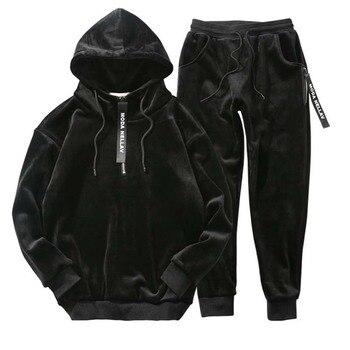 Winter Men Velour Tracksuit 2019 Fashion korea Gold velvet track suit male hoodie & sweat pants  jogger set Jogging Suits Outfit