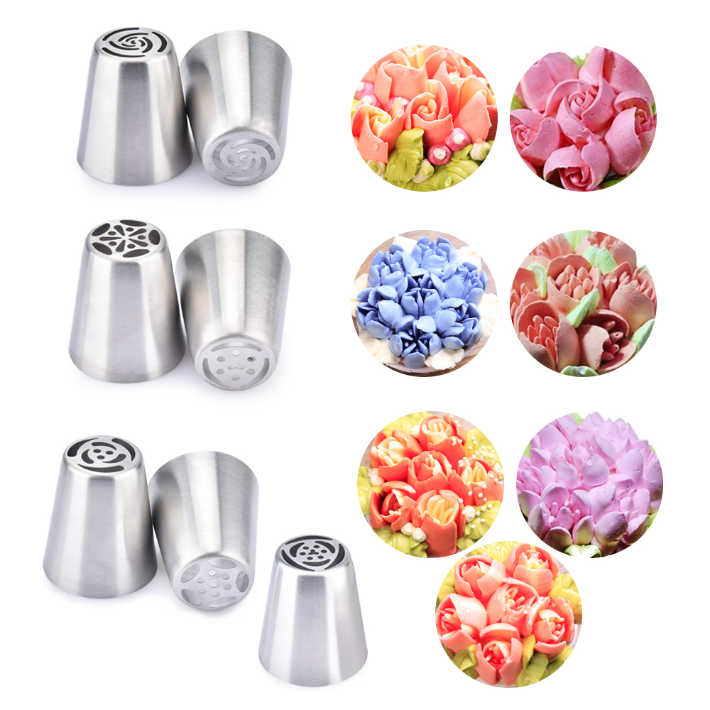 Cream Nozzles Stainless Steel Icing Piping Tips Rose Tulip Flower DIY Cake Decoration Kitchen Accessories Baking Supply (4)