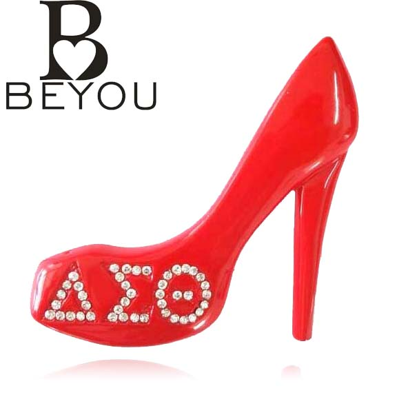 10pcs Newest Delta Sigma Theta Crystal Brooch DST red high-heel shoe Lapel Pin brooch