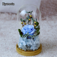 Kyunovia Wedding Home Decoration Valentine S Day Glass Cover Fresh Preserved Rose Flower Beautiful Red Pink