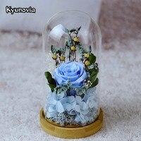 Kyunovia De Mariage Décoration de la Maison Valentine Couvercle En Verre Frais Conservés Rose Fleur Belle Rouge Rose Rose KY79