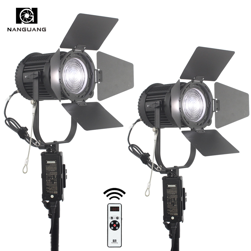 2pcs 100W LED Focusable Fresnel Spotlight Dimmable with DMX512 Lighting Control System+Remote+Light Bag cheap dimmable 1200w hmi fresnel light daylight electronic ballast with case lighting film for movie light sdutio lighting