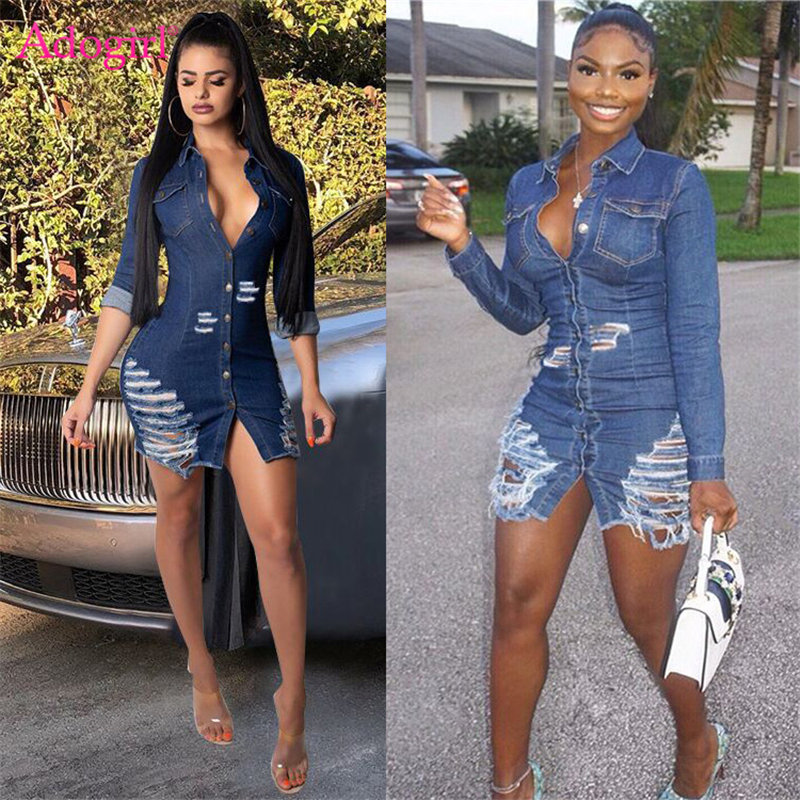 Adogirl Women Sexy Holes Jeans Dress Buttons Up Turn Down Collar Long Sleeve Denim Mini Night Club Party Dresses Autumn Outfits
