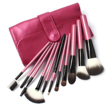 11 PCs Makeup Goat Hair Make up Brush Pony Hair Brushes Kit Ultra Soft Synthetic Hair Brush in Pink Lattice Leather Bag