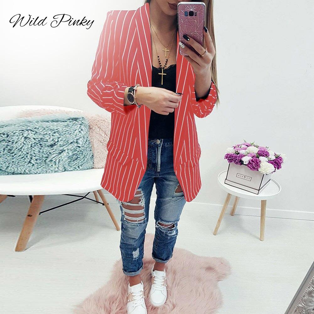 Wildpinky Spring Female Blazer Jacket Black White Striped Casual Suit Long Sleeve Women Jacket Blazer Autumn Cardigan Femme