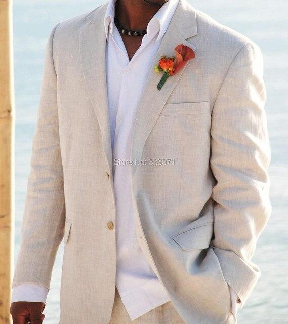 Simple Linen Suits Men Wedding Tuxedos Custom made Grooms Tuxedos ...