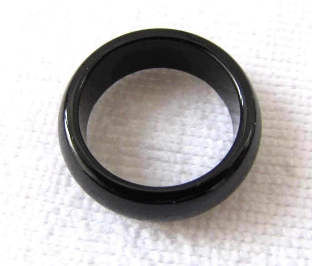ใหม่ธรรมชาติสีดำนิลมือแกะสลักแหวนวงsize7-11 #