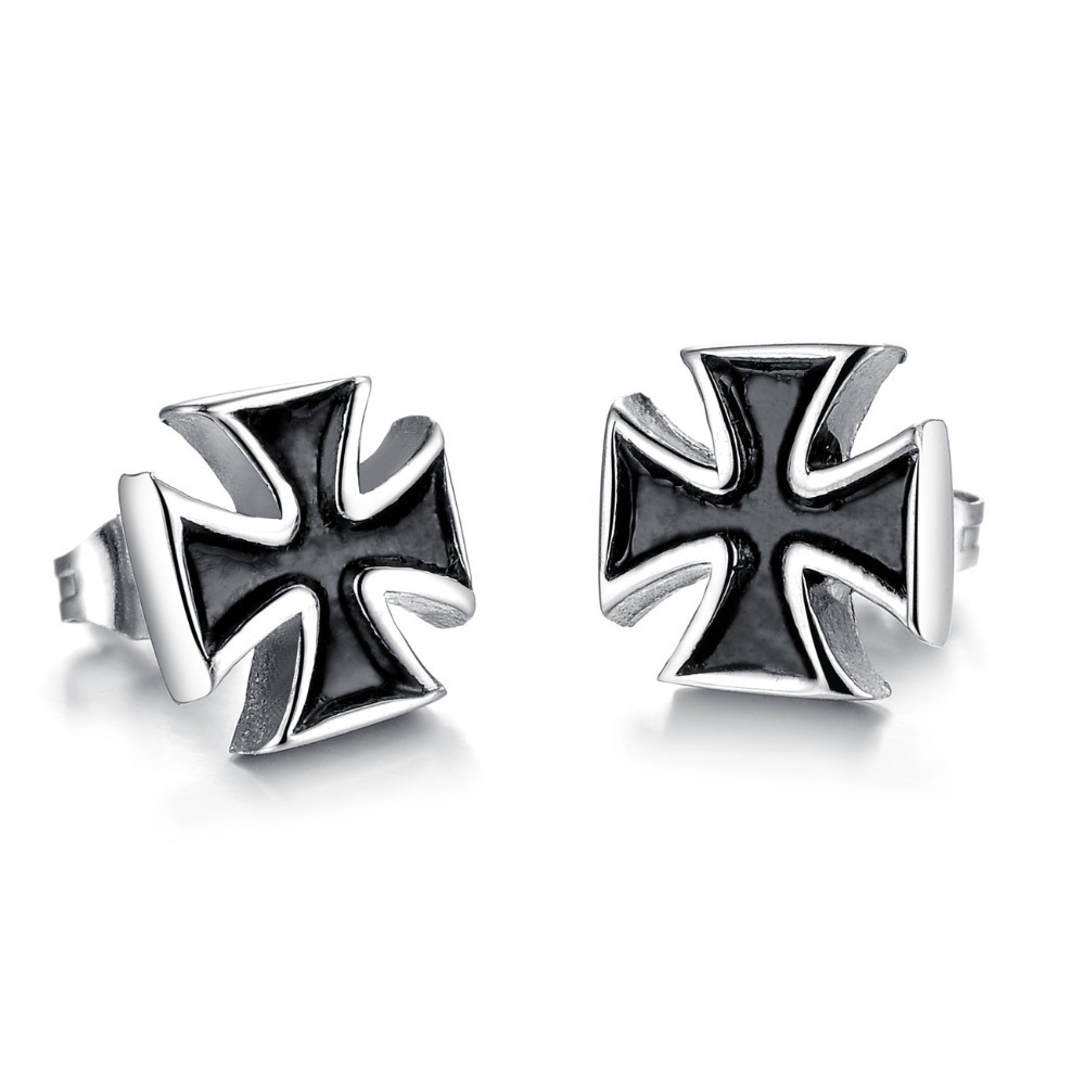 Cool Black Iron Cross Earring For Men Stainless Steel Men's Jewelry(china  (mainland)