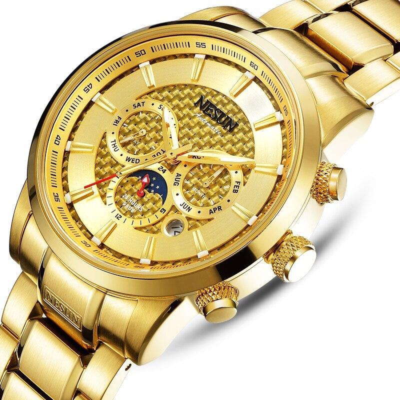 Luxury Brand NESUN Watch Multifunctional Display Automatic Self-Winding