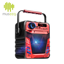 "Museeq Portable Bluetooth Party Speaker With 4"" Driver, LED Display, Sparkling LED Lights, Carry Handle, Karaoke Mic Compatible(China)"