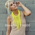 fashion and new neon yellow collar acrylic tassels necklace Seed bead woven chokers necklaces&pendantsbrand bohemian bijoux