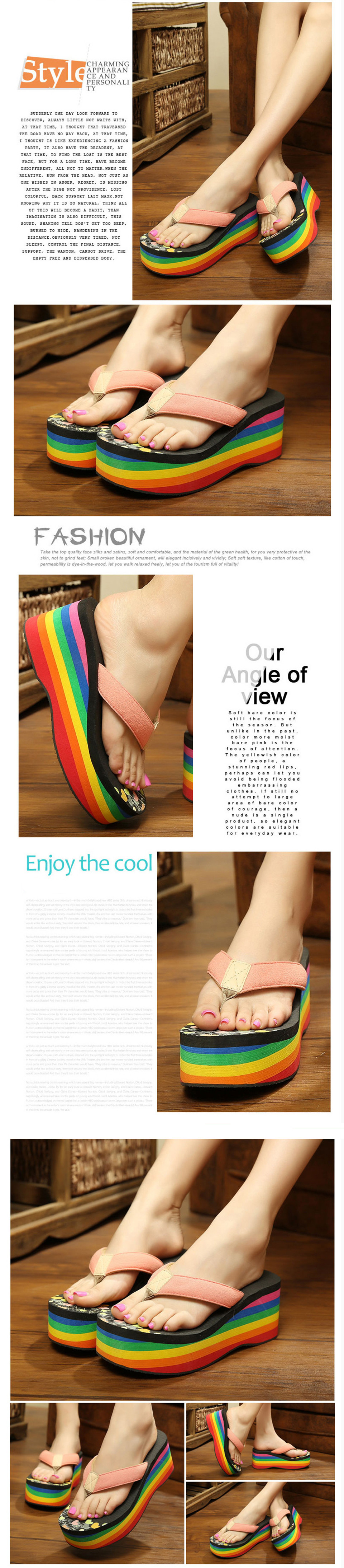 2ae4a7f55c4f Rainbow Striped Platform Wedge Flip Flops Casual High Heels Sandals Women  Summer Sandale Femme Shoes EVA Beach Shoes Woman