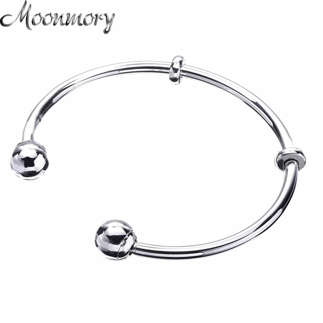 Moonmory Moments Silver Open Charm Bangle with Caps S925 Sterling Silver bead Bracelet  Bangle For Woman Diy Silver Jewelry