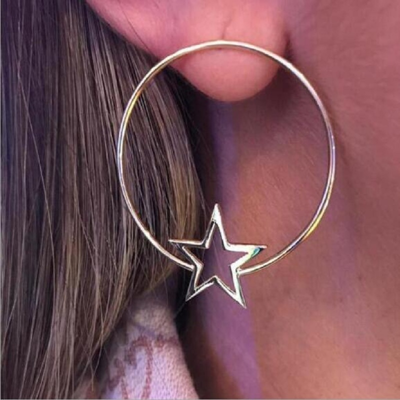 Find Me 2019 new fashion Vintage star alloy Drop Earrings for Women Jewelry boho Hollow out big circle dangle Earrings wholesale