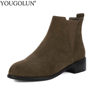 YOUGOLUN Women Ankle Boots 2017 Autumn Winter Genuine Cow Suede Nubuck Leather Square Heel 3 5
