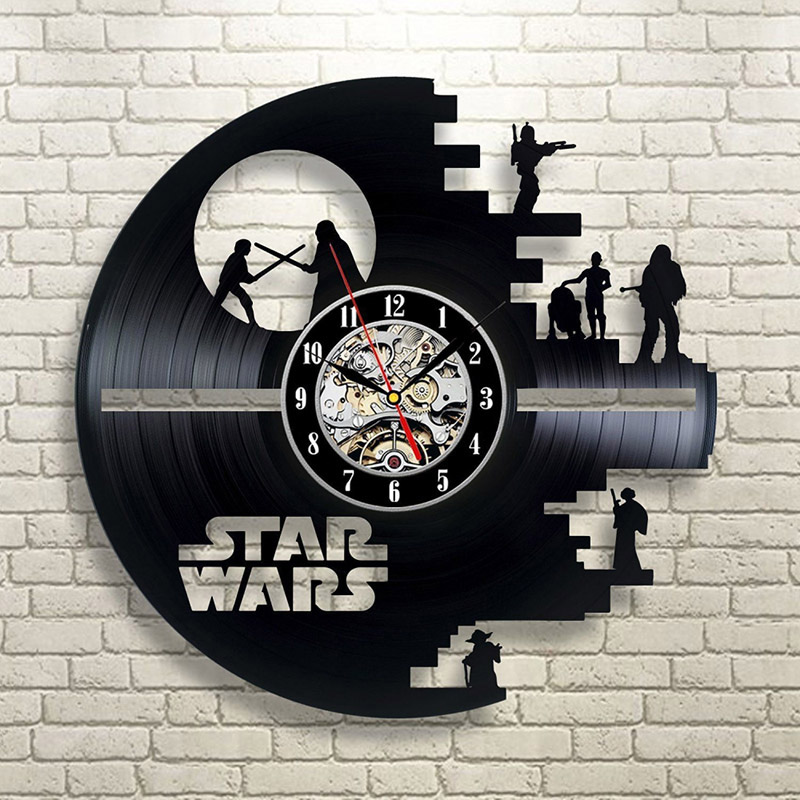 Vintage Vinyl Record Wall Clock Modern Design Creative 3D Stickers Movie Theme Star Wars Clocks Hanging Wall Watch Home Decor