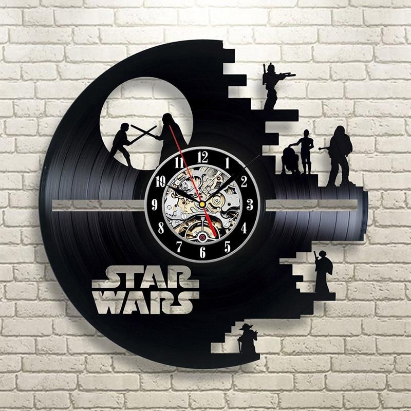Vintage Vinyl Record Wall Clock Modern Design Creative 3D Stickers Movie Theme Star Wars Clocks Hanging Wall Watch Home Decor