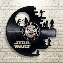 Reloj de pared Vintage de vinilo con diseño moderno, pegatinas 3D creativas, tema de película, relojes de Star Wars, reloj colgante de pared, decoración del hogar