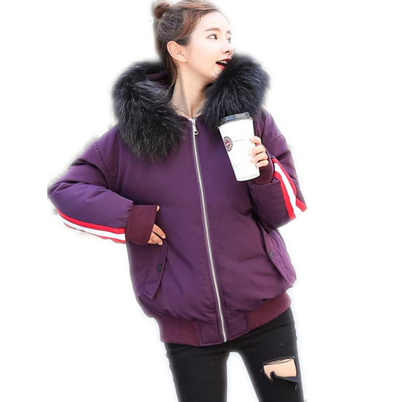 Winter Purple white Fur Cotton Black Female Coatcq2677 Thicken Cotton Coats Large padded Streetwear Fashion Down Collar Hooded dark Short Jacket 2018new xwFRHq0
