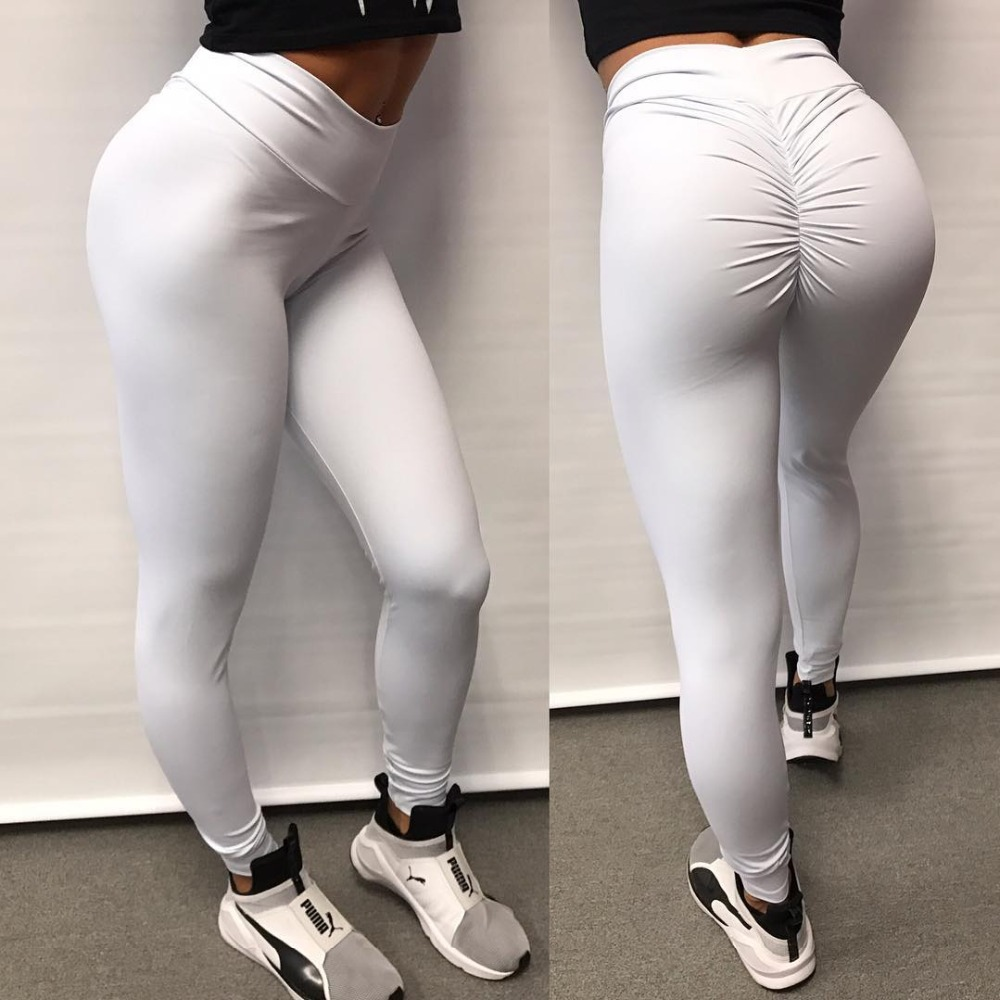 <font><b>2018</b></font> <font><b>Sexy</b></font> Legging <font><b>women</b></font> Push Up White Leggings <font><b>Women</b></font> Fashion High Waist Workout Polyester fitness Leggins Activewear Slim <font><b>Pants</b></font> image