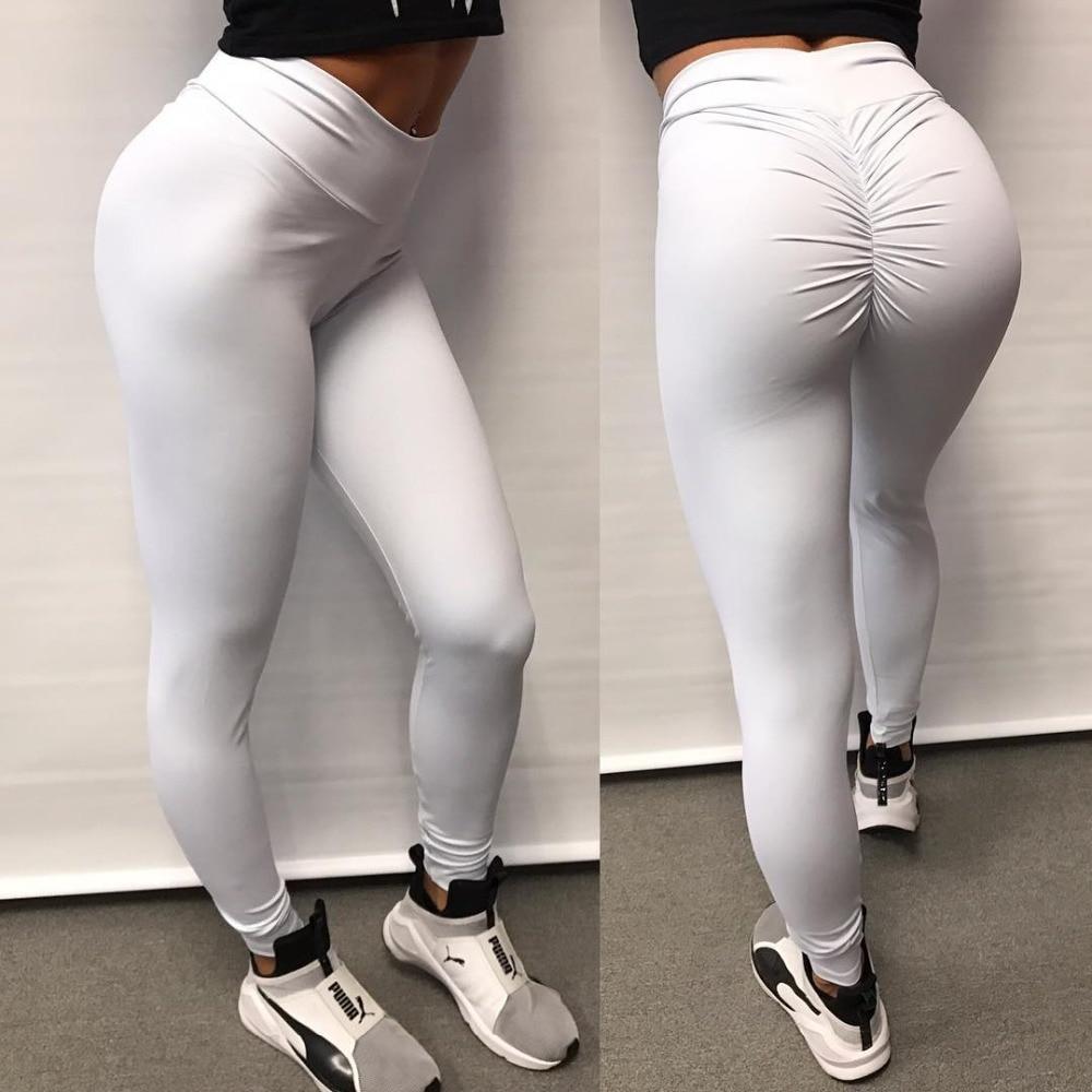2018 Sexy Legging Women Push Up White Leggings Women Fashion High Waist Workout Polyester Fitness Leggins Activewear Slim Pants