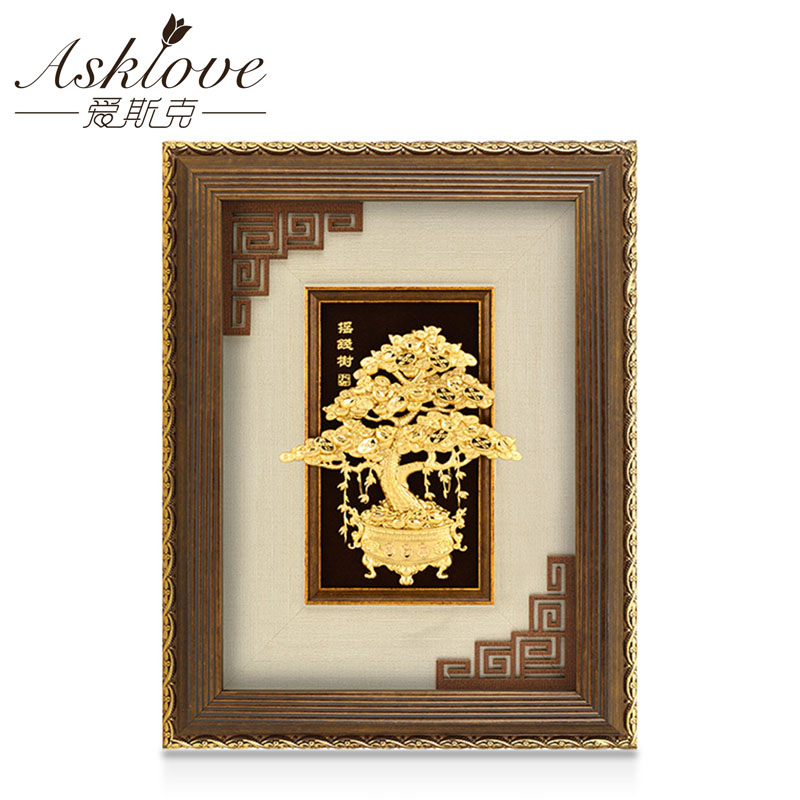 Asklove Lucky money tree 3D Gold foil painting Wall art pictures gifts wall pictures for living room Home desktop decorationAsklove Lucky money tree 3D Gold foil painting Wall art pictures gifts wall pictures for living room Home desktop decoration