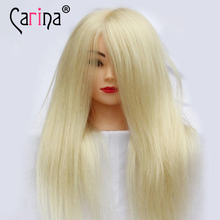 Professional Training Mannequin Head For Hairdressers With Blonde Hair 55cm Thick Wig Nice Styling