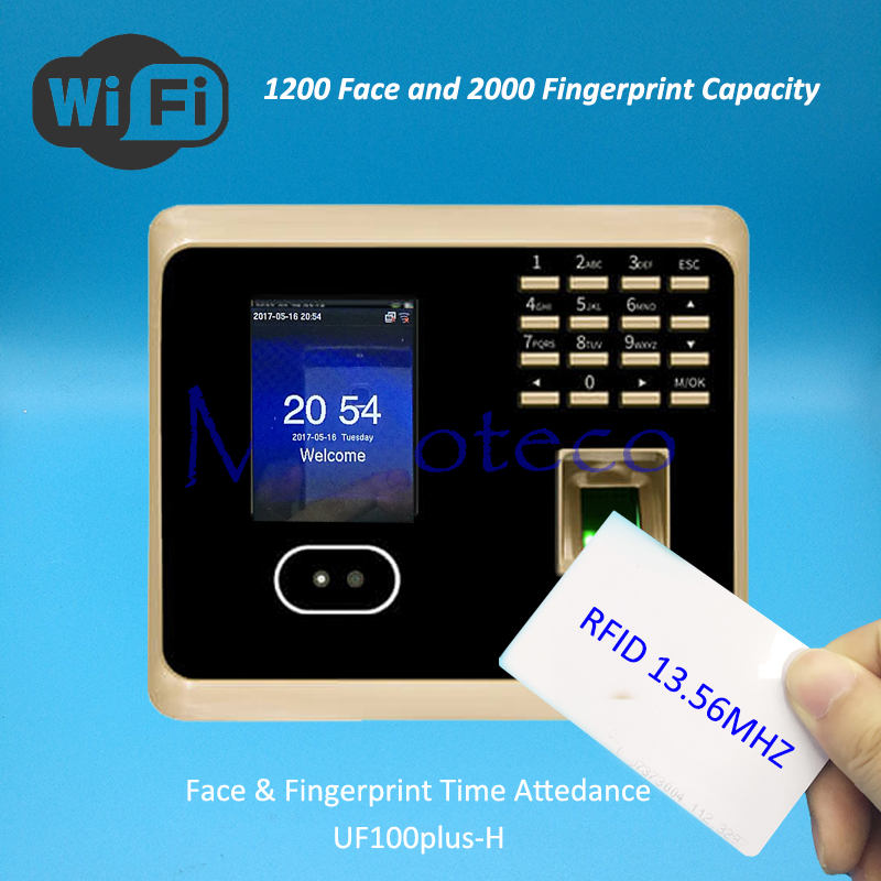 Wifi Face Time Attendance Fingerprint Time Attendance Tcp/ip+Wifi Rfid IC 13.56Mhz Card Time Recording Attendance System