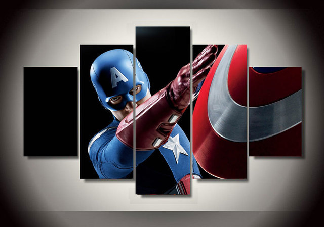 5 Panel Framed Printed Captain America Group Painting Wall Art