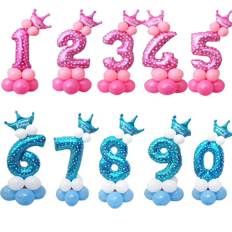 1 Set 0-9 Numbers Large Helium Number Foil Children Festivals Dekoration Birthday Party Toy Anniversaire Enfant Hat For Kids