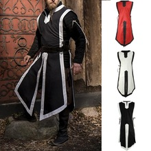 New side lace-up sleeveless men's gown medieval costume stage costume role-playing men's gown lace up side sleeveless bodysuit