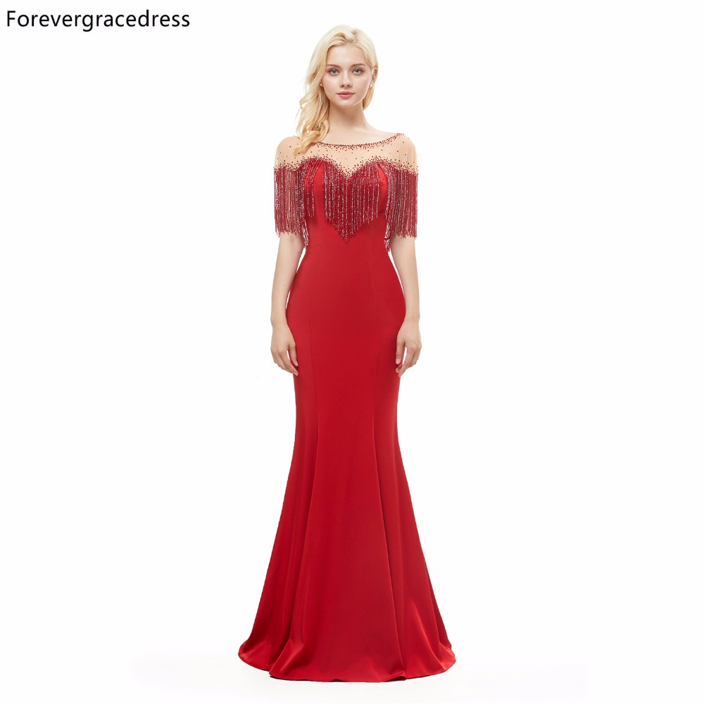 Forevergracedress Luxury Red Color   Evening     Dress   Mermaid Backless Long Formal Party Gown Plus Size Custom Made 2019